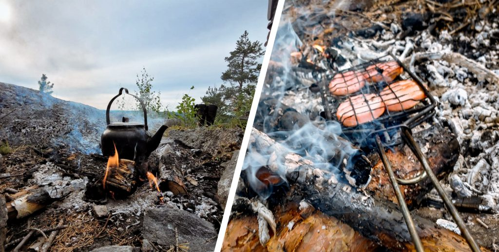 Food and kettle on Swedish campfire