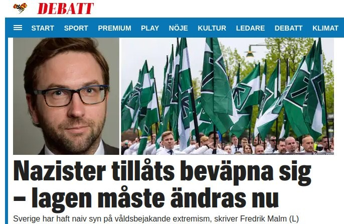 Expressen screenshot about the Nordic Resistance Movement's right to bear arms