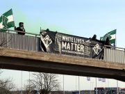White Lives Matter banner action, Finspång, Sweden