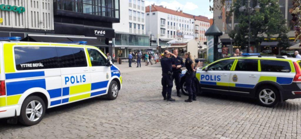 Police at NRM day of action, Västerås, Sweden
