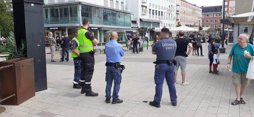 Security guards at NRM day of action, Västerås, Sweden