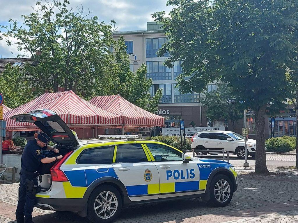 Police at NRM day of action, Vetlanda, Sweden