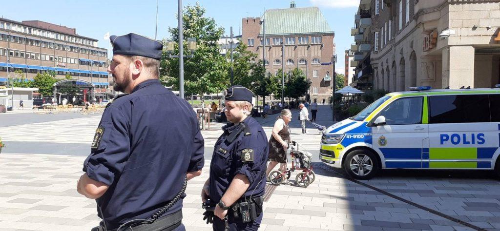 Police at NRM day of action, Eskilstuna, Sweden