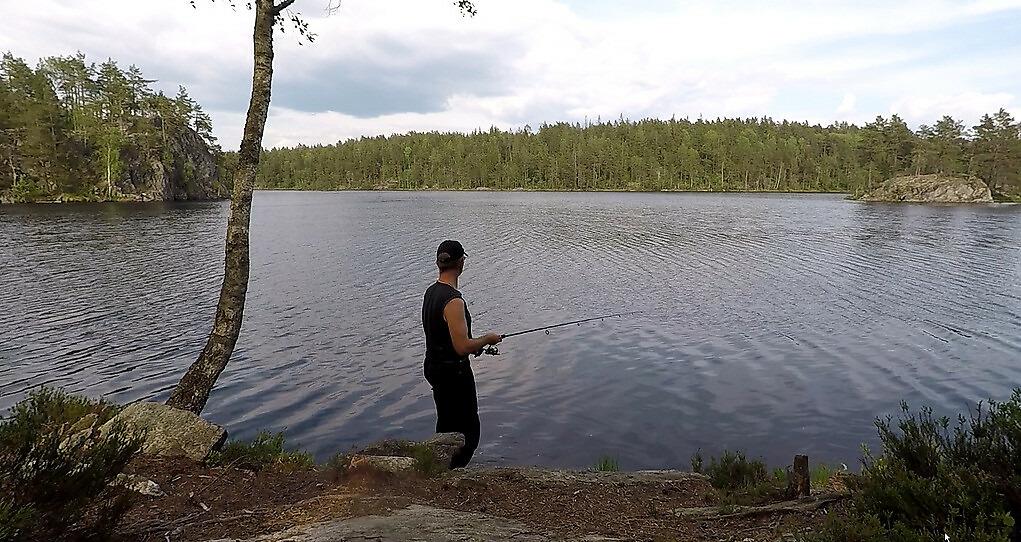 Fishing in a Norwegian lake, Eastern Norway