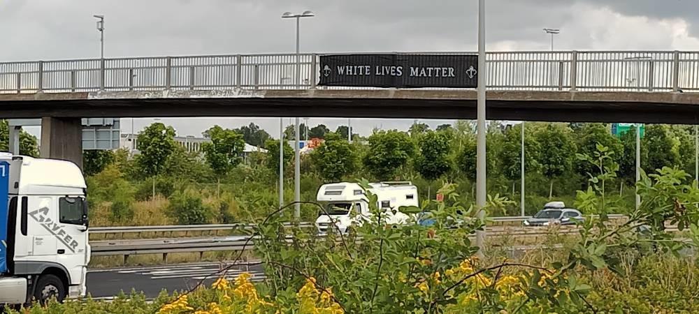 White Lives Matter banner, Greve, Denmark