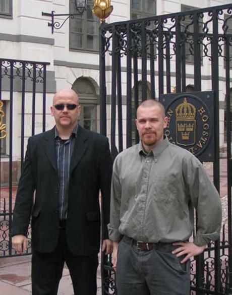 Pär Öberg and Fredrik Vejdeland outside the Supreme Court