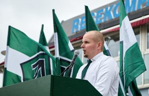 Simon Lindberg gives a speech at Nordic Resistance Movement demonstration