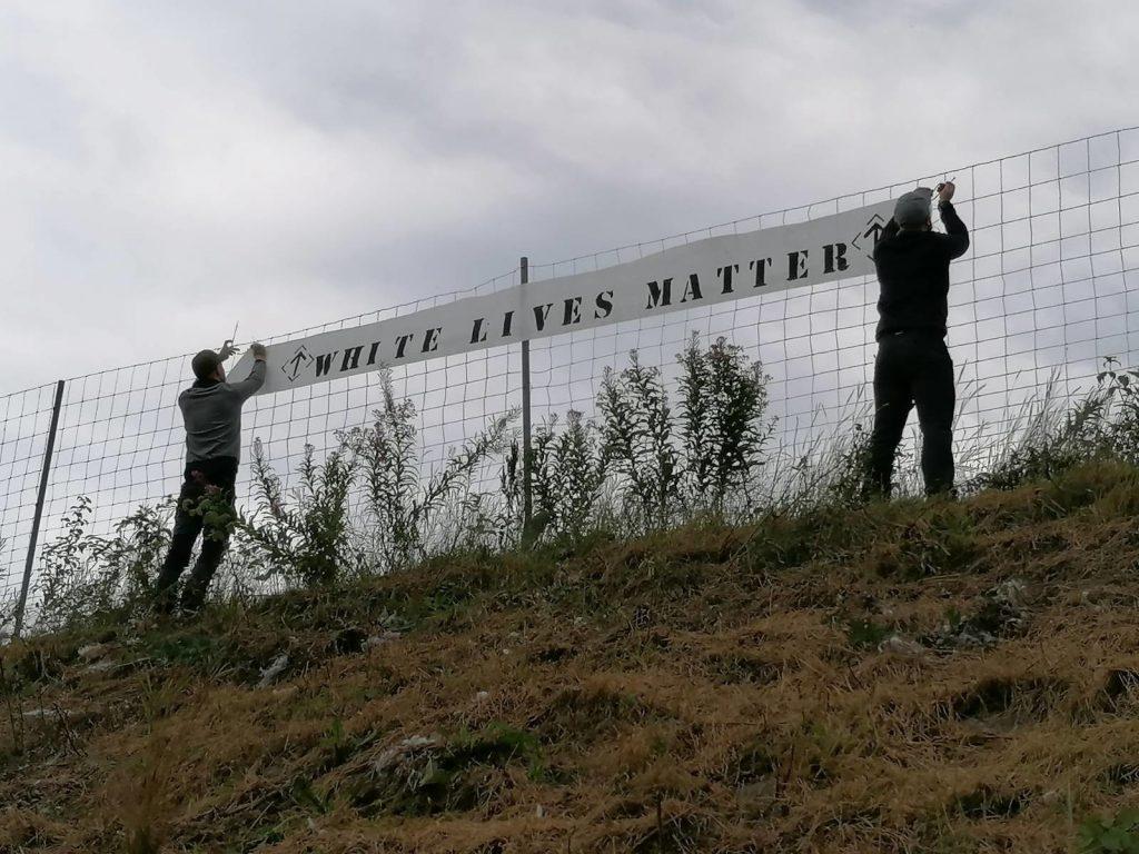 White Lives Matter banner in Vetlanda, Sweden