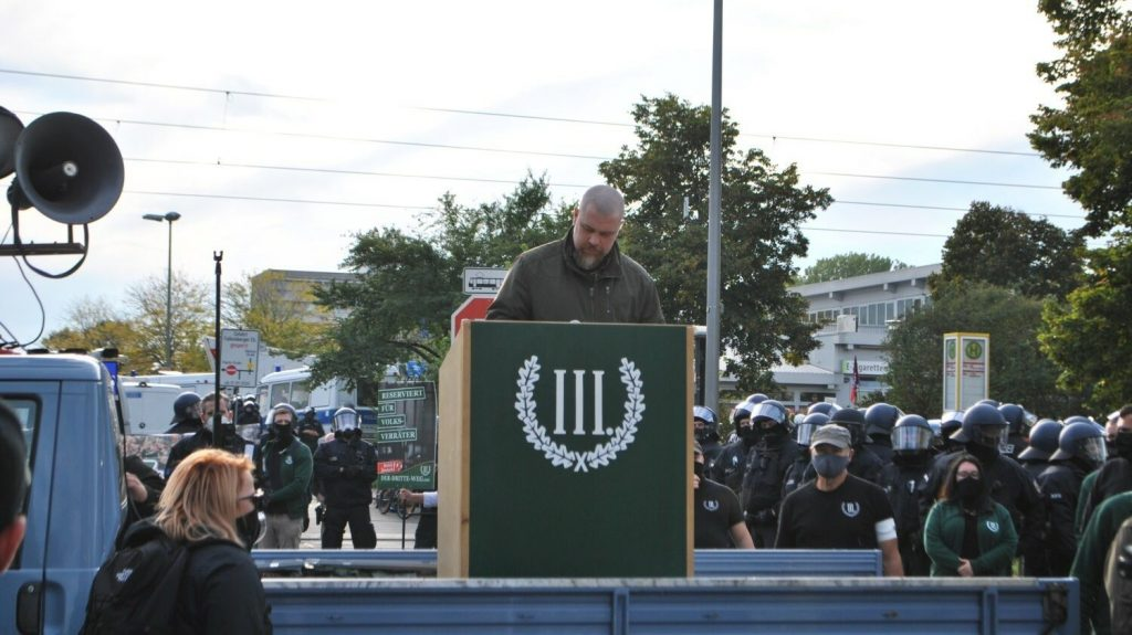 Fredrik Vejdeland speaks at a Der Dritte Weg rally, Berlin