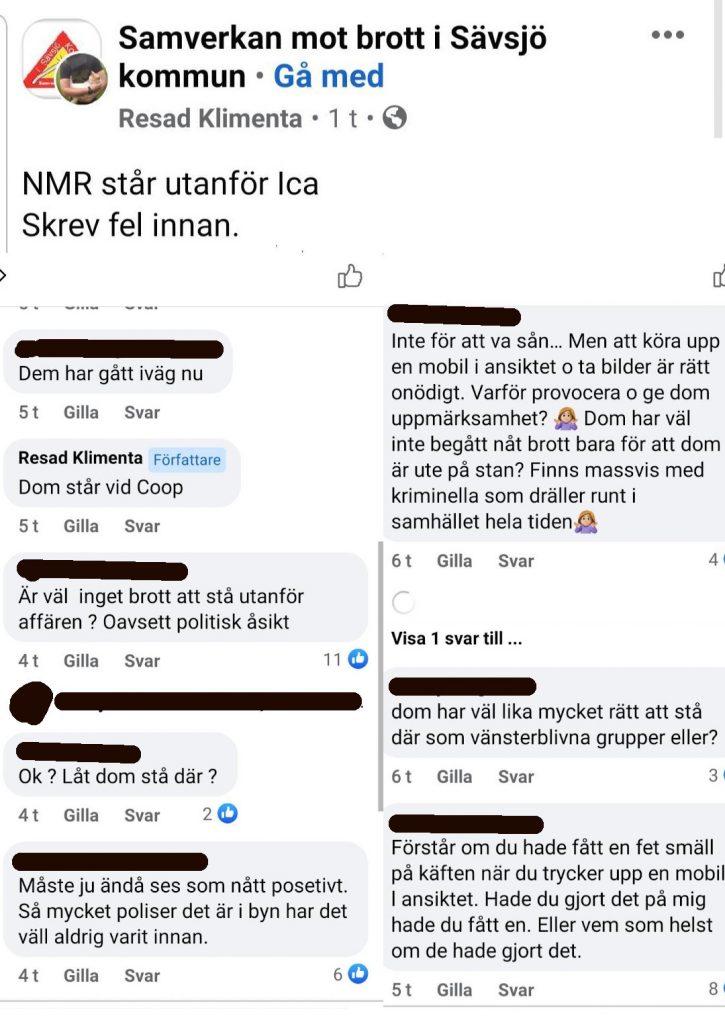 Facebook messages of opponent at NRM public action in Sävsjö, Sweden