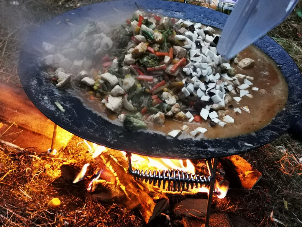 A stew cooked on a campfire in the Jämtland woods, Sweden