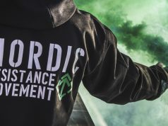 """Nordic Resistance Movement Nest 6 """"Love Your People"""" banner action police smoke grenade"""