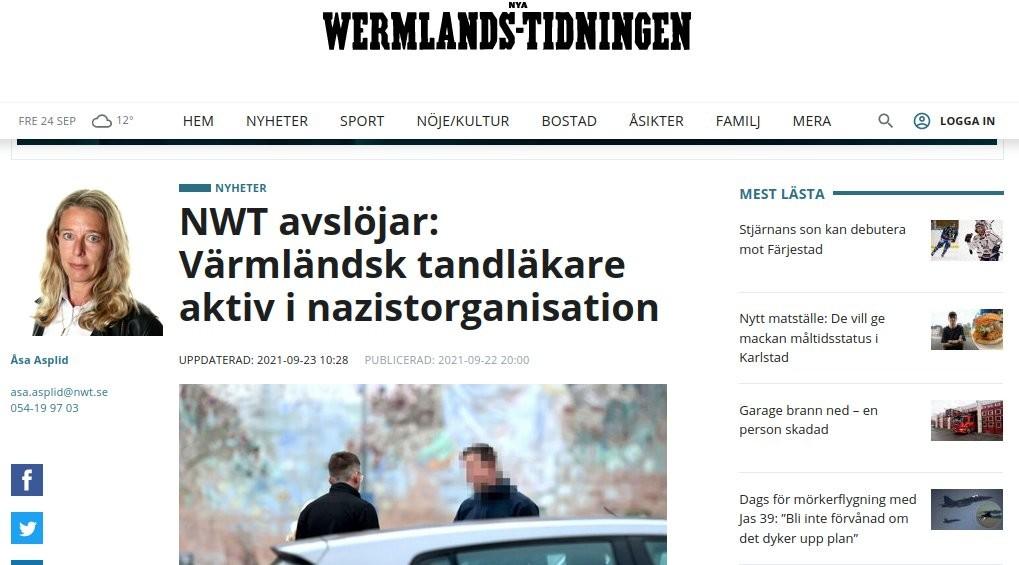 "Nya Wermlands Tidningen ""Nazi dentist"" screenshot"